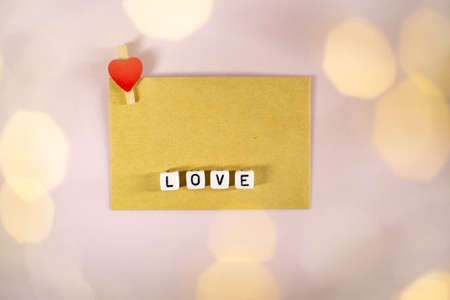 The word love consists of cubes with a space for the signature. Zdjęcie Seryjne