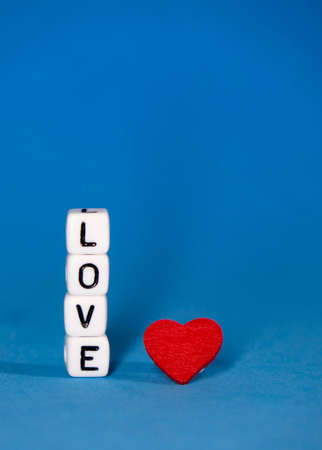 Valentines Day. A declaration of love consists of cubes with space for congratulations . Zdjęcie Seryjne