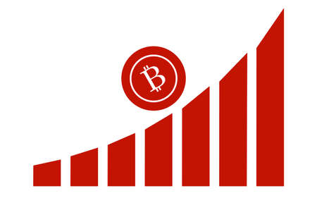 Chart of The Growth of Bitcoin money. Illustration of a financial chart.
