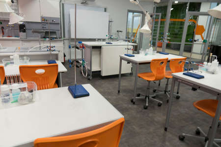 Chemistry class at school. An empty, clean laboratory in a university college science classroom. Stok Fotoğraf