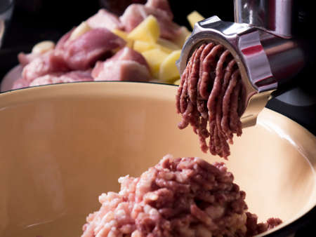 Cooking minced meat in an electric meat grinder from fresh meat at home.