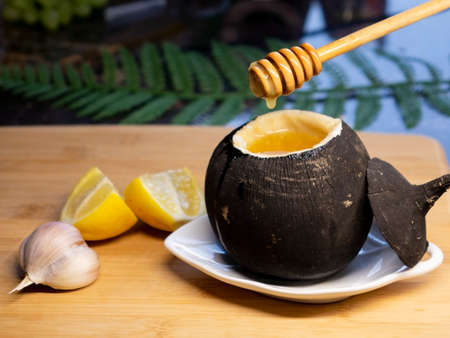 Black radish with honey.Natural honey cough syrup . Stok Fotoğraf
