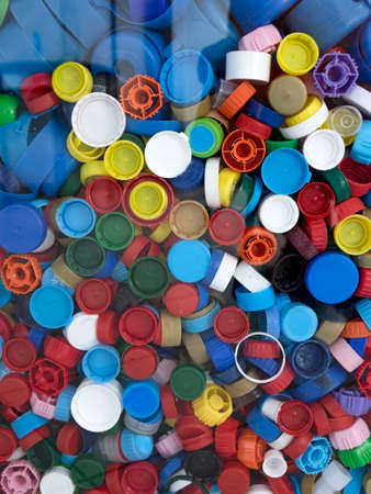 Recycling collection and processing of plastic bottle caps. The cover material is recyclable.