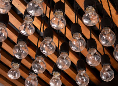 Decorative incandescent lamps. Used as a vintage style indoors. Zdjęcie Seryjne