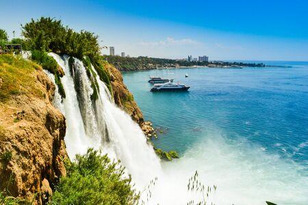 Waterfall in Antalya city Turkey, Mediterrain sea Stock Photo