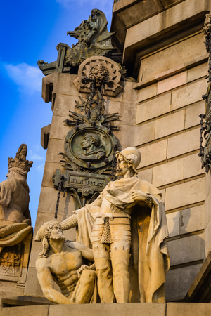 rambla: Statue Columbus in Barcelona on Rambla road