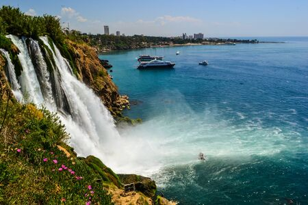 sea cliff: Waterfall in Antalya city Stock Photo