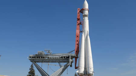 Rocket Vostok on launch pad in sunny day