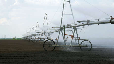 pump of irrigation system in field