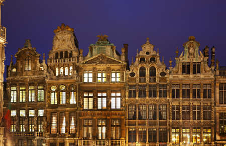 Guildhalls on the Grand Place in Brussels at twilight  Belgium     Stock Photo