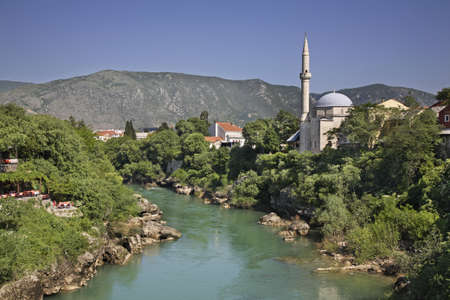 Neretva River  in Mostar  Bosnia and Herzegovina Stock Photo - 27045896