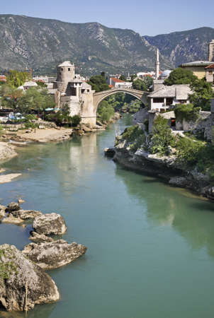 former yugoslavia: Old bridge in Mostar  Bosnia and Herzegovina