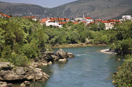 Neretva River  in Mostar  Bosnia and Herzegovina Stock Photo - 27045989