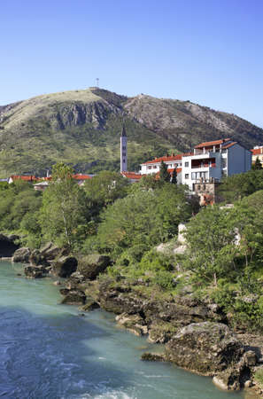 mostar: Neretva River  in Mostar  Bosnia and Herzegovina