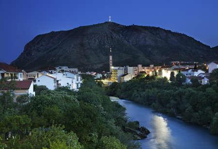 former yugoslavia: Neretva River  in Mostar at twilight  Bosnia and Herzegovina Stock Photo