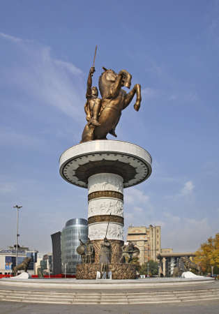 Warrior on a Horse in Skopje  Macedonia photo
