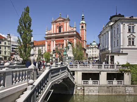 The Triple Bridge over the Ljubljanica River in Ljubljana  Slovenija