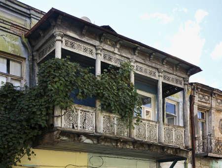 tbilisi: Balcone in Tbilisi. Georgia Archivio Fotografico