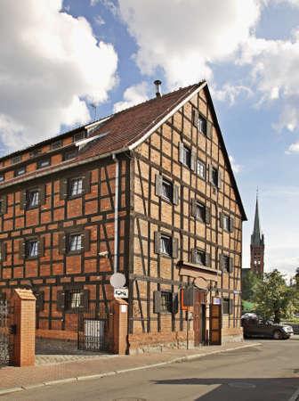 showplace: bydgoszcz, old, slaughterhouse, butchery, building, facade, architecture, clock, tower, landmark, showplace, poland, polska