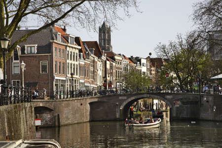 Oudegracht in Utrecht. Netherlands