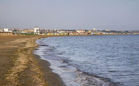seaboard: Caspian Sea in Mardakan. Azerbaijan