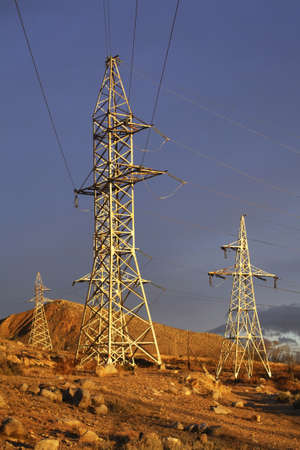 Power line in Cholpon-Ata. Kyrgyzstan photo
