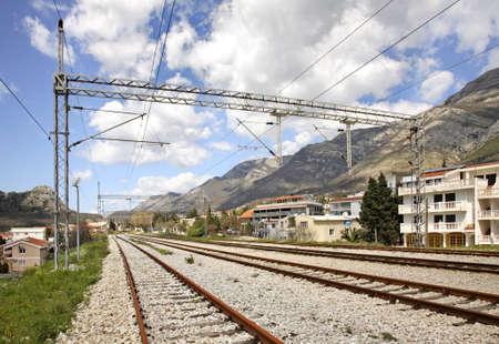 montenegro: Railway in Sutomore. Montenegro Stock Photo