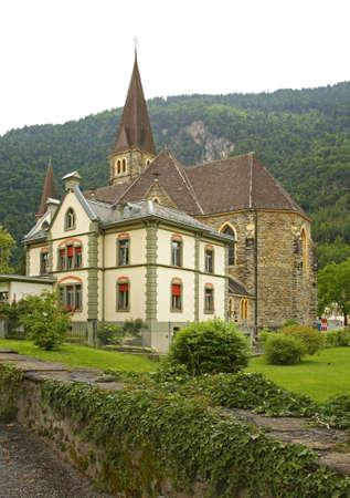 interlaken: Catholic church in Interlaken. Switzerland Stock Photo