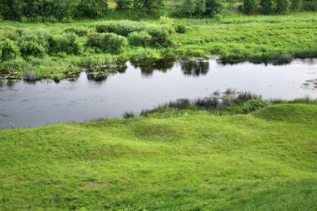 paysage: Musa river in Bauska. Latvia Stock Photo
