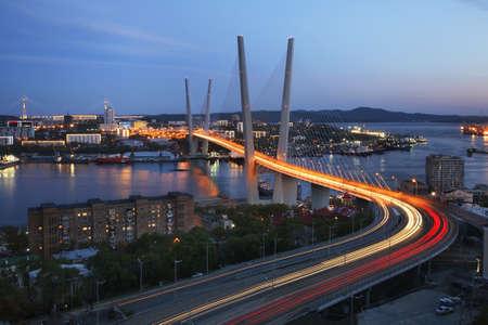 Golden Bridge in Vladivostok. Russia Editorial