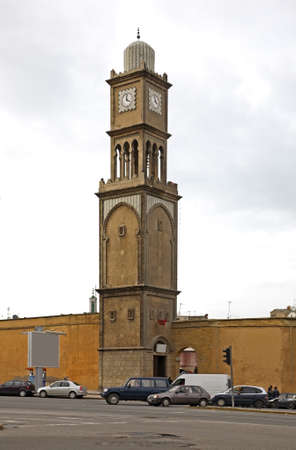 Clock tower in old Medina. Casablanca. Morocco