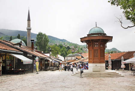 Sebilj fountain on Bascarsija square in Sarajevo. Bosnia and Herzegovina