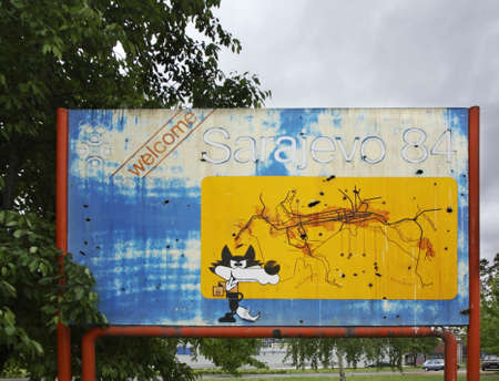 olympiad: Billboard Olympics-84 in Sarajevo. Bosnia and Herzegovina Editorial