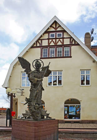 michael: Sculpture of Archangel Michael in Mora. Sweden