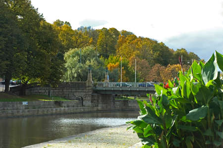 turku: Embankment of the Aura river in Turku. Finland
