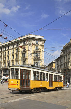 tramline: Cordusio square in Milan. Lombardy. Italy Editorial