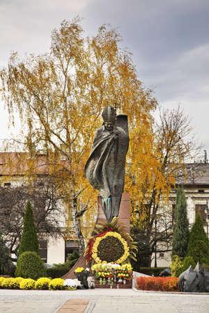 polska monument: Monument to John Paul II in Nowy Sacz. Poland