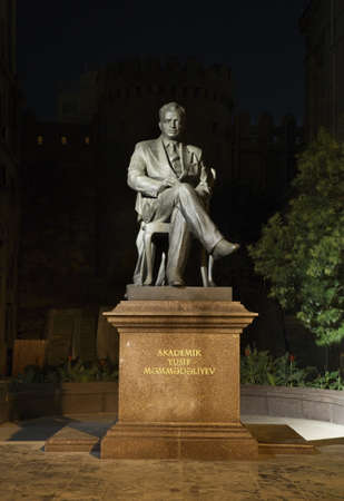 baku: Monument  to Yusif Mammadaliyev in Baku. Azerbaijan