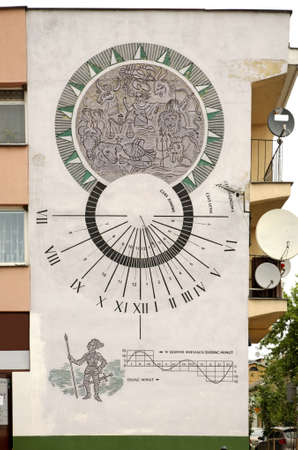 architecture alphabet: Sundial in Wlodawa. Poland Editorial