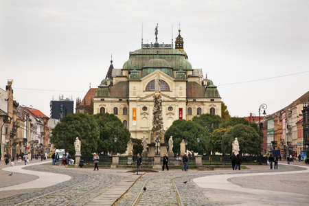 plague: State Theatre and plague column in Kosice. Slovakia