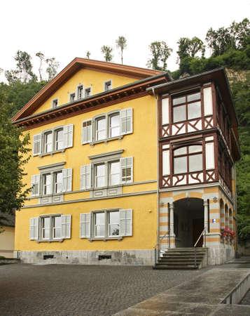 liechtenstein: Building in Vaduz. Principality of Liechtenstein Editorial