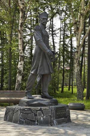sakhalin: Monument to Gennady Nevelskoy in Yuzhno-Sakhalinsk. Sakhalin island. Russia