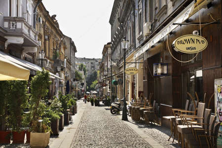 El casco antiguo de Bucarest. Rumania Editorial