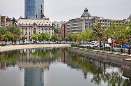 Dambovitsa river embankment in Bucharest. Romania