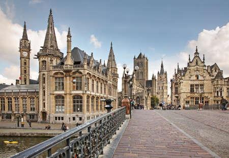 flanders: Historic centre in Ghent. Flanders. Belgium