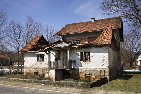 selo: Abandoned building in Licko Petrovo Selo. Croatia Editorial