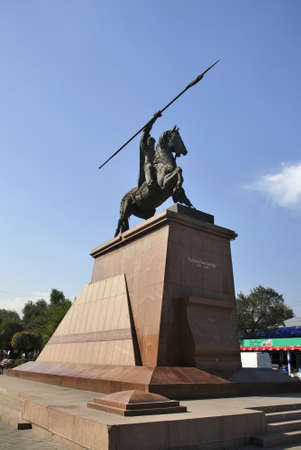 statuary: Monument to Raiymbek batyr in Almaty. Kazakhstan
