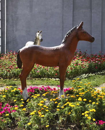statuary: Sculpture of horse in Almaty. Kazakhstan