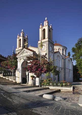panteleimon: St. Panteleimon Church in Siana. Rhodes island. Greece Stock Photo