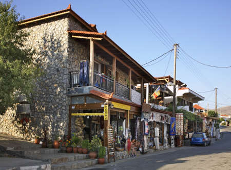 strret: Street in Siana. Rhodes island. Greece Editorial